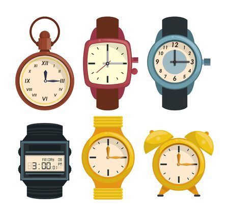 Clocks and wristwatch collection white background vector illustration graphic design