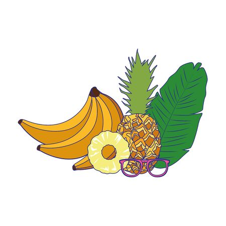 tropical leaf with pineapple and banana over white background, vector illustration
