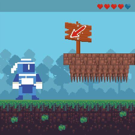 video game ninja warrior in pixelated scene vector illustration design 向量圖像