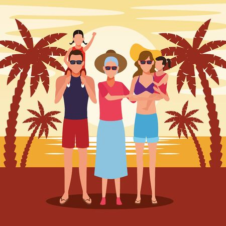 old woman and family with kids at the beach in the sunset, colorful design. vector illustration Foto de archivo - 134705957