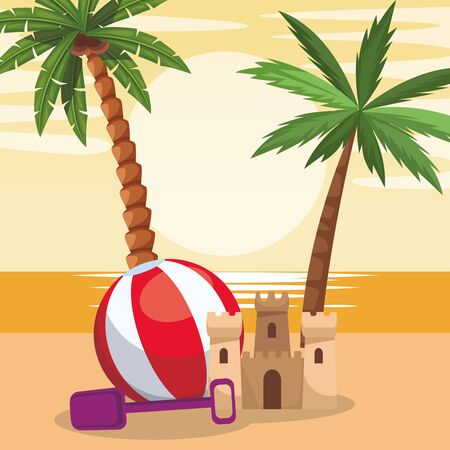 beach design with sandcastle and ball, colorful design. vector illustration