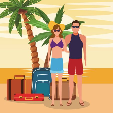 avatar young couple with suitcases at the beach, colorful design. vector illustration