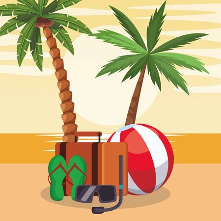 beach colorful design with suitcase and snorkell mask, vector illustration Stock Illustratie