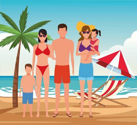 famille d'avatar et femme avec de petits enfants à la plage, design coloré. illustration vectorielle Vecteurs