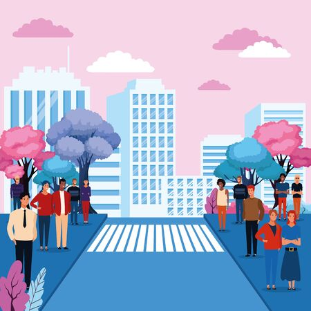 People in the city park scenery cartoons vector illustration graphic design Stock Illustratie