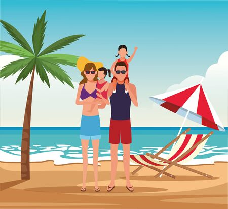 avatar family with kids at the beach, summer vacations design. vector illustration