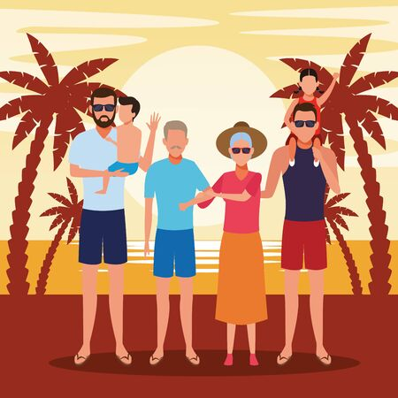 avatar family with little kids at summer vacations in the beach, colorful design. vector illustration Foto de archivo - 134640735