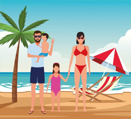 avatar family and little kids at the beach, colorful design. vector illustration