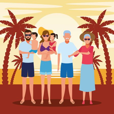avatar old couple and family with kids at the beach, colorful design. vector illustration Foto de archivo - 134640740