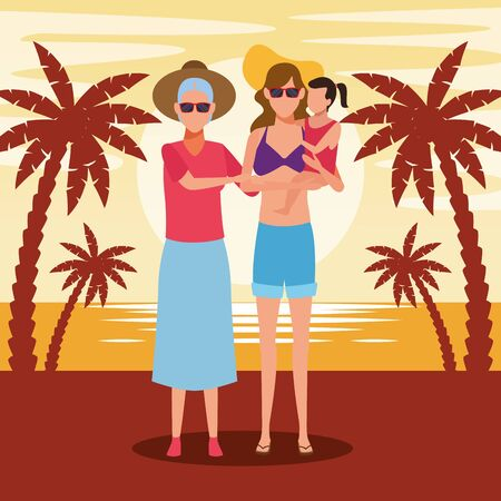 happy old woman and woman holding a girl at the beach, colorful design. vector illustration