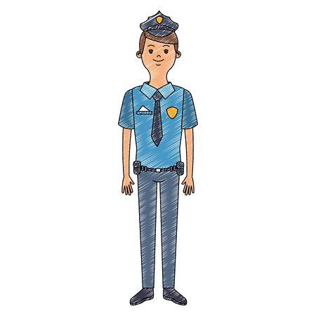 Police officer cartoon vector illustration graphic design