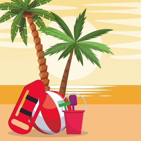 Beach colorful design with ball and lifeguard buoy, vector illustration