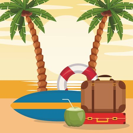 beach design with surfboard with suitcases and coconut cocktail, vector illustration