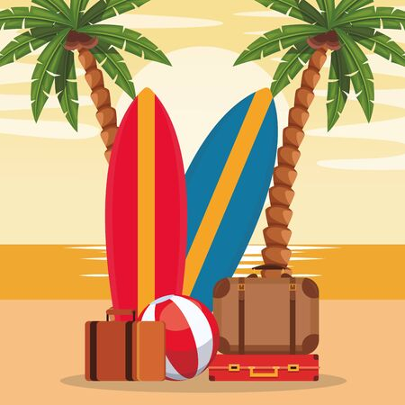 Beach colorful design with surfboards and suitcases, vector illustration