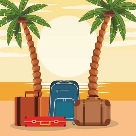 Beach colorful design with travel suitcases and palms, vector illustration