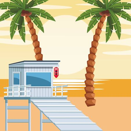 beach colorful design with lifeguard tower, vector illustration