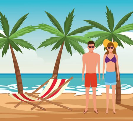 avatar young couple at the beach, colorful design. vector illustration