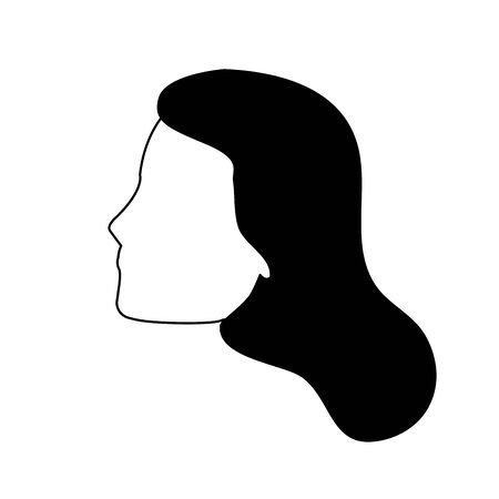 profile of woman face icon over white background, vector illustration