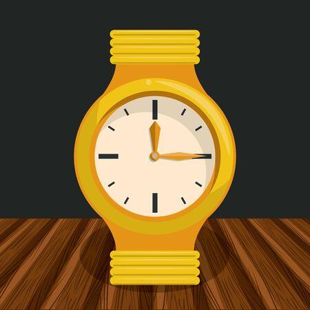 Fashion wristwatch on table cartoon vector illustration graphic design