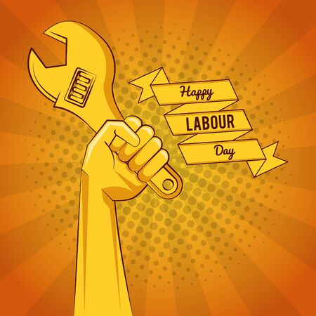 Happy labour day card with tools yellow striped background vector illustration graphic design Ilustrace