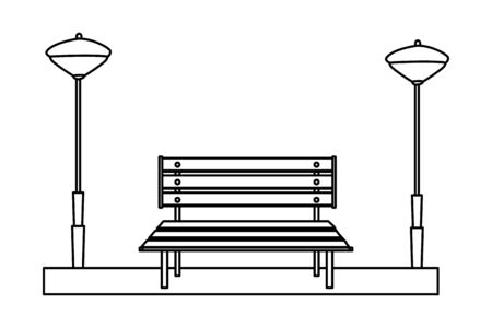 Wooden park bench isolated cartoon vector illustration graphic design