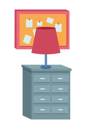 Office workplace light lamp on drawer and corkboard with notes elements cartoons ,vector illustration graphic design. 일러스트