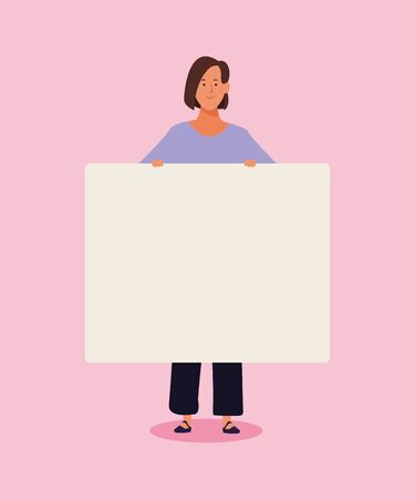 woman standing with blank poster over pink background, colorful design. vector illustration Foto de archivo - 133907449