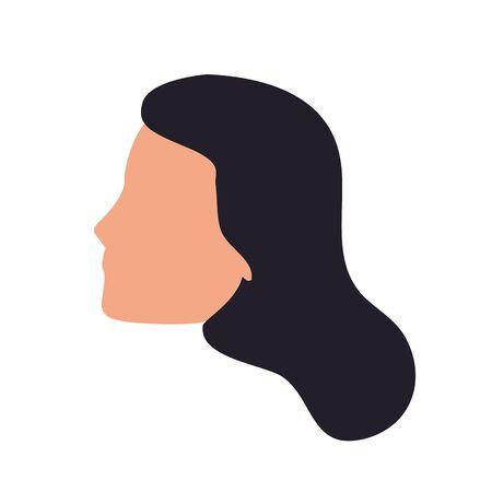 default woman face icon over white background, colorful design. vector illustration Foto de archivo - 133907311
