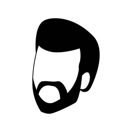adult man with beard icon over white background, vector illustration Foto de archivo - 133907314