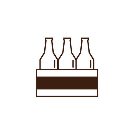 beers in basket oktoberfest celebration isolated icon vector illustration design