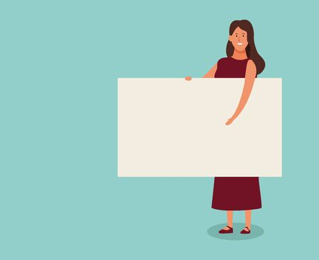 cartoon woman standing with blank poster over turquoise background, colorful design. vector illustration Foto de archivo - 133907370