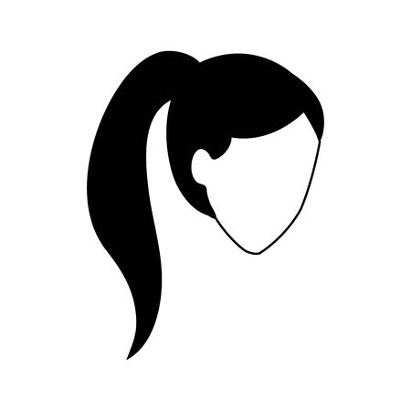 avatar woman head with tail hair over white background, vector illustration