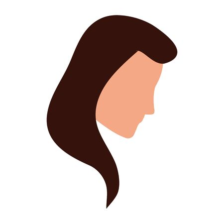 avatar woman face with long hair over white background, colorful design. vector illustration Ilustrace