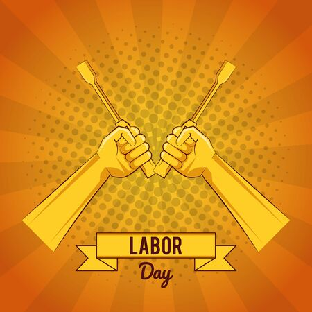 Happy labor day card with tools yellow striped background vector illustration graphic design Ilustrace