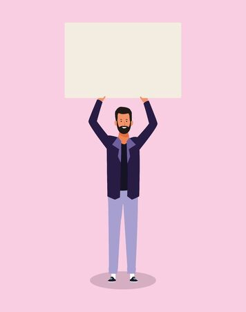 happy cartoon man standing with blank poster over pink background, colorful design. vector illustration