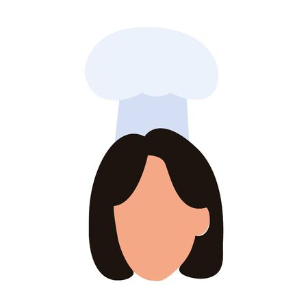 avatar woman with chef hat over white background, vector illustration  イラスト・ベクター素材