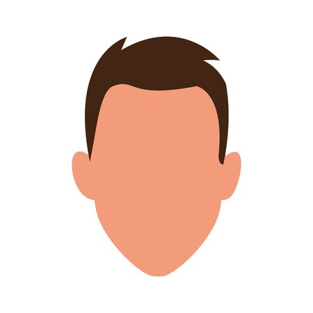 default man face icon over white background, vector illustration
