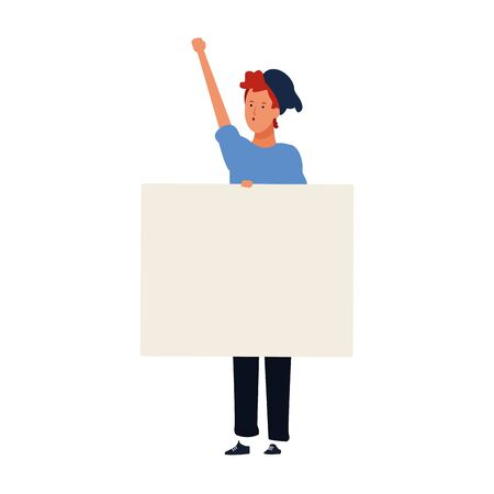 man standing with blank placard icon over white background, vector illustration