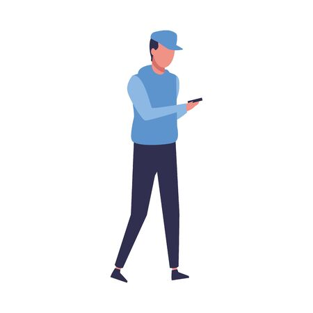 avatar man walking wearing a hoodie and cap over white background, vector illustration Иллюстрация