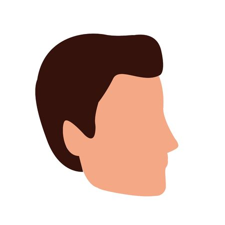 avatar man face icon over white background, vector illustration