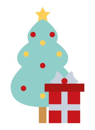 merry christmas pine tree with gift vector illustration design 일러스트
