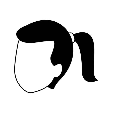 avatar woman with hair tail over white background, flat design. vector illustration