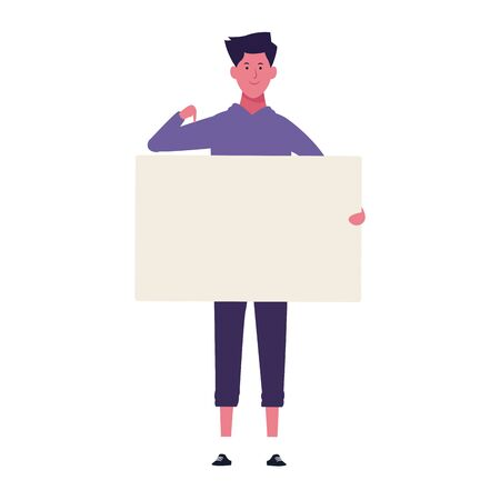 cartoon man showing blank placard icon over white background, colorful design. vector illustration