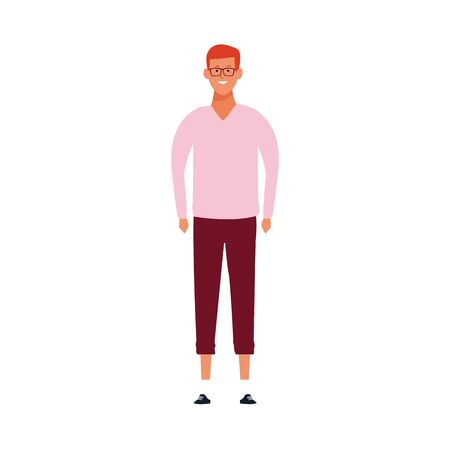 cartoon man with glasses standing icon over white background, vector illustration