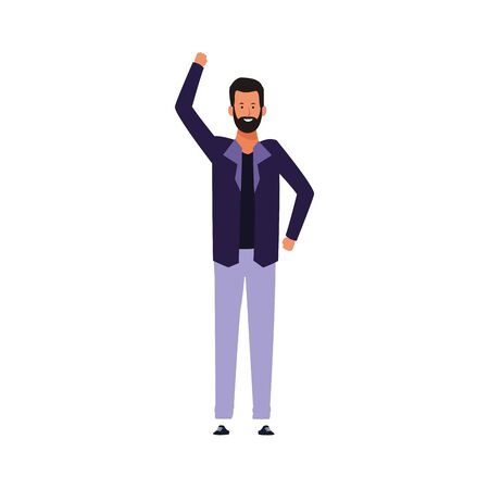 cartoon man with beard standing over white background, colorful design. vector illustration