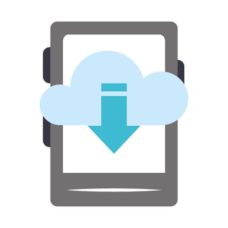 ebook device with cloud storage with download arrow down icon over white background, vector illustration