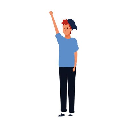 cartoon man standing with arm up icon over white background, protest expression. vector illustration Иллюстрация