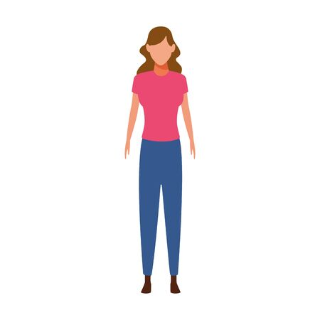 avatar woman standing icon over white background, vector illustration