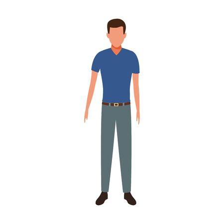 avatar man standing icon over white background, vector illustration