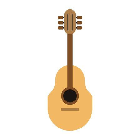 acoustic guitar and music symbol isolated Vector design illustration